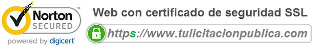 Certificado web SSL tulicitacionpublica contratar licitaciones obras servicios suministro